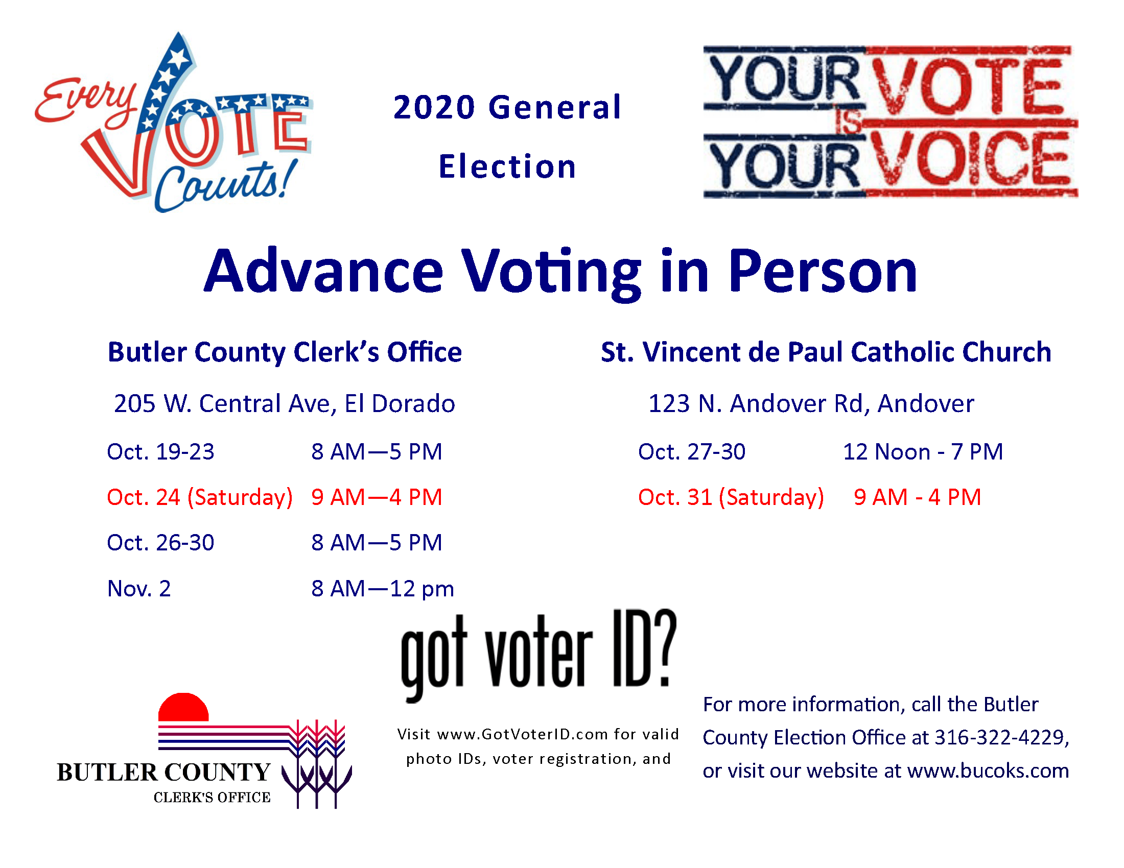 Advance Voting General Election Dates and Times