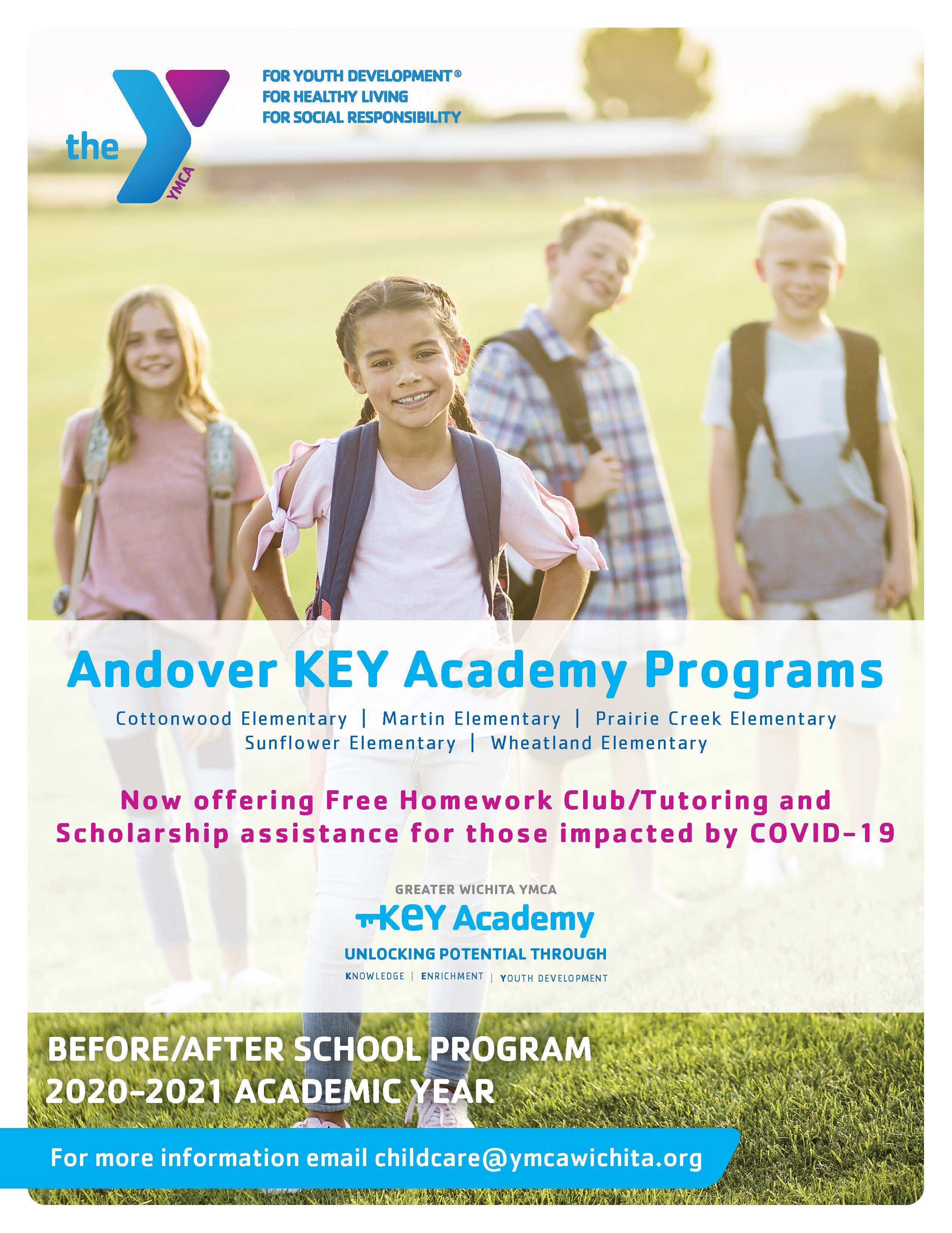 YMCA USD385 KeyAcademy Tutoring for info email childcare@ymcawichita.org