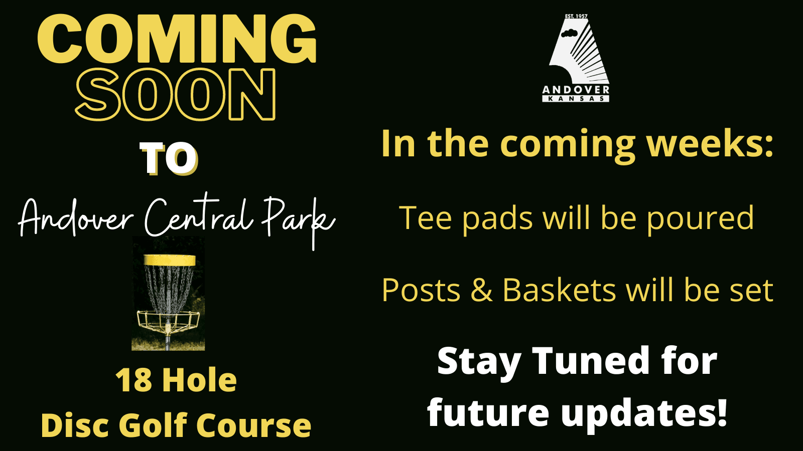 Disc Golf components being installed in the coming weeks at Central Park