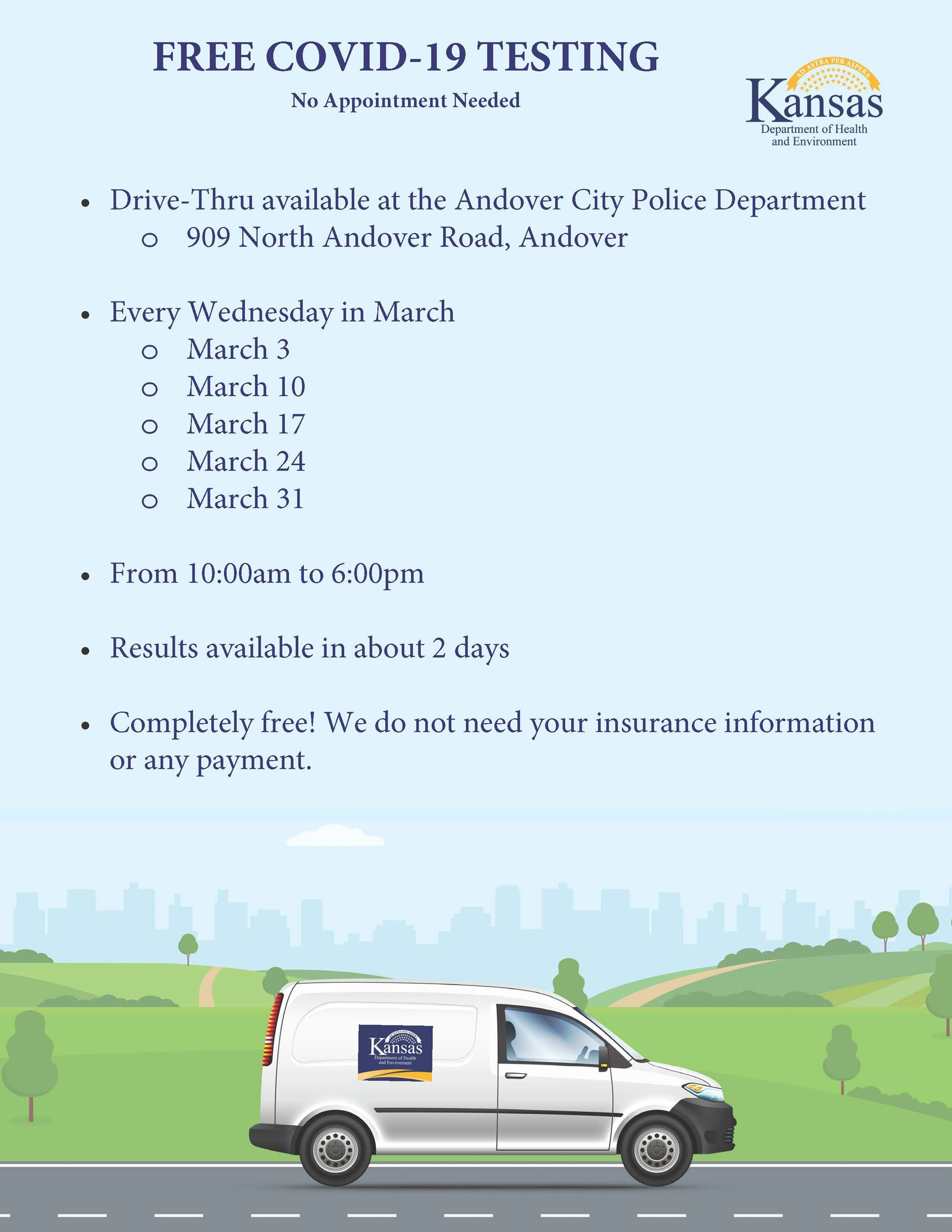 KDHE FREE COVID-19 Testing each Wednesday in March at Andover Police Department from 10am-6pm