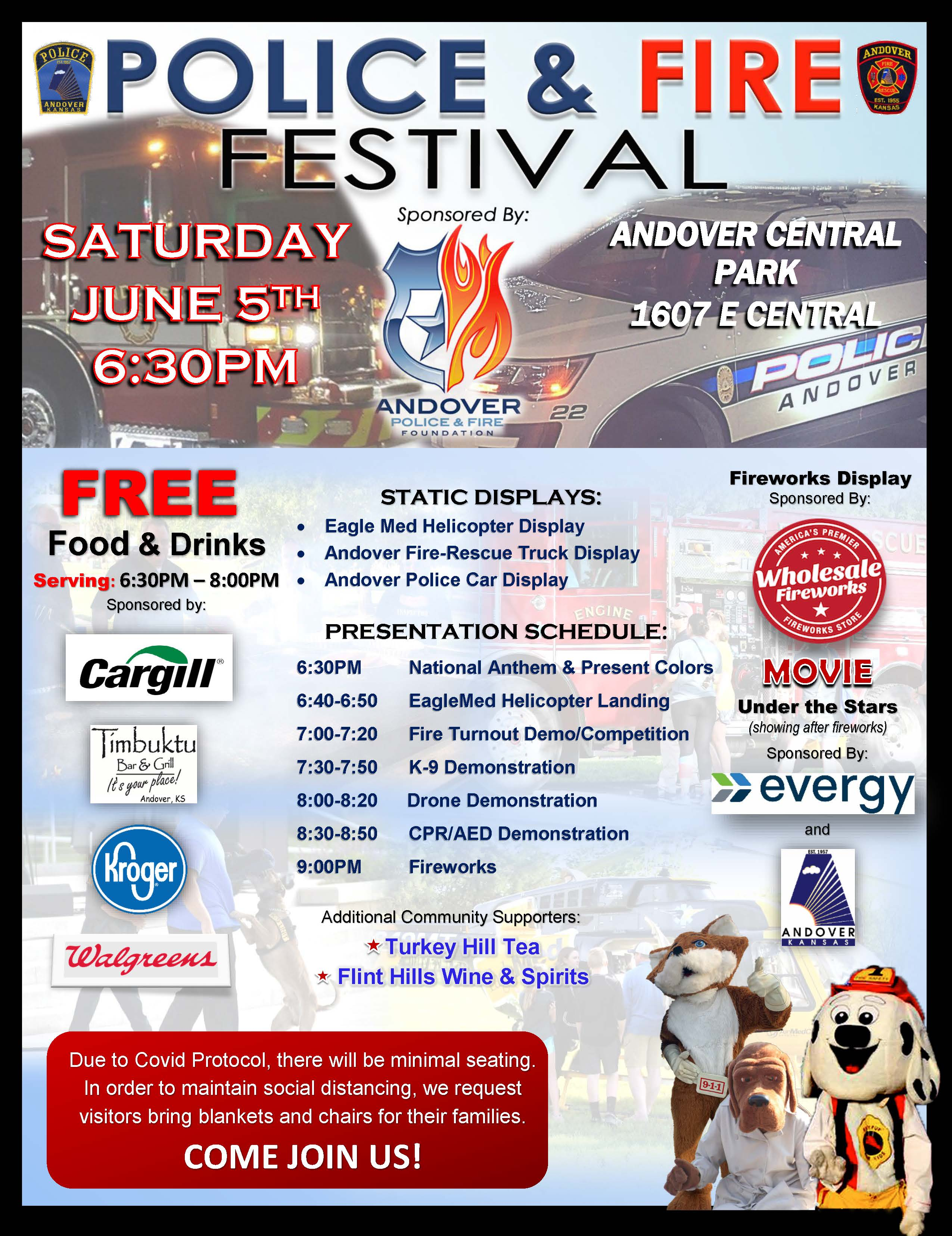 2021 Police Fire Festival June 5th at 6:30pm in Central Park